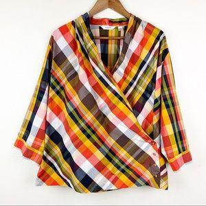 Liz Claiborne Plaid Wrap Front 3/4 Sleeve Blouse